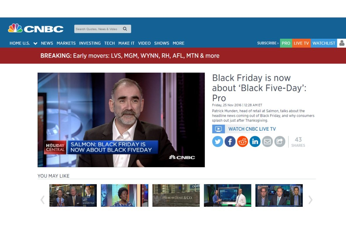 Patrick Munden talks to CNBC Broadcast about Black Friday