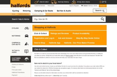"Halfords.com, in conjunction with Salmon, launches new ""reserve online, collect in store"" service, that results in over 100,000 orders"