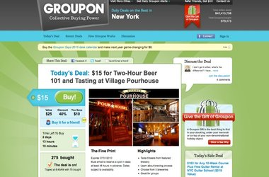 Persuasive web design as demonstrated by Groupon